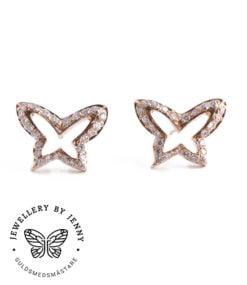 Örhängen fjärilar med briljantslipade diamanter