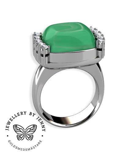 ring med grön ädelsten