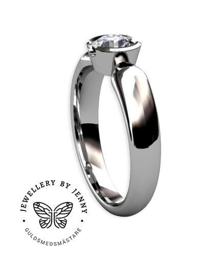 enstensring vitguld med briljantslipad diamant