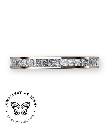 alliansring med prinsesslipade diamanter