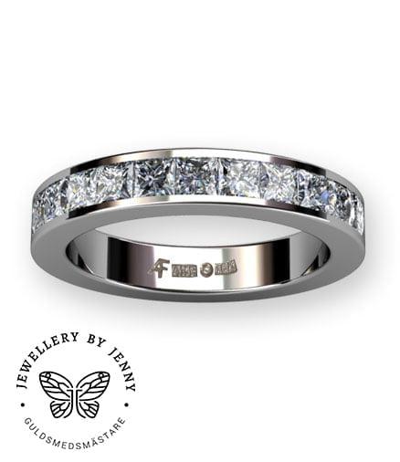 alliansring platina med prinsesslipade diamanter