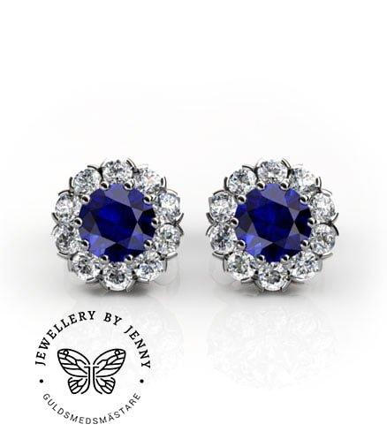 örhängen blå safirer och diamanter