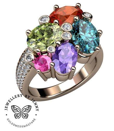 Candy ring med färgstenar