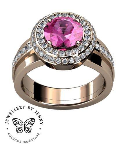 haloring med rosa sten