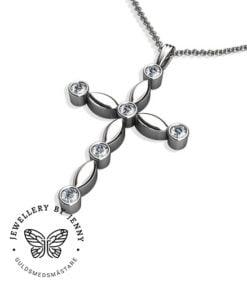 kors med diamanter i vitguld